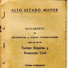 Militaria: REGLAMENTO ABREVIATURAS Y SIGNOS CONVENCIONALES.FUERZAS ARMADAS Y PORTECCION CIVIL.. Lote 18155207