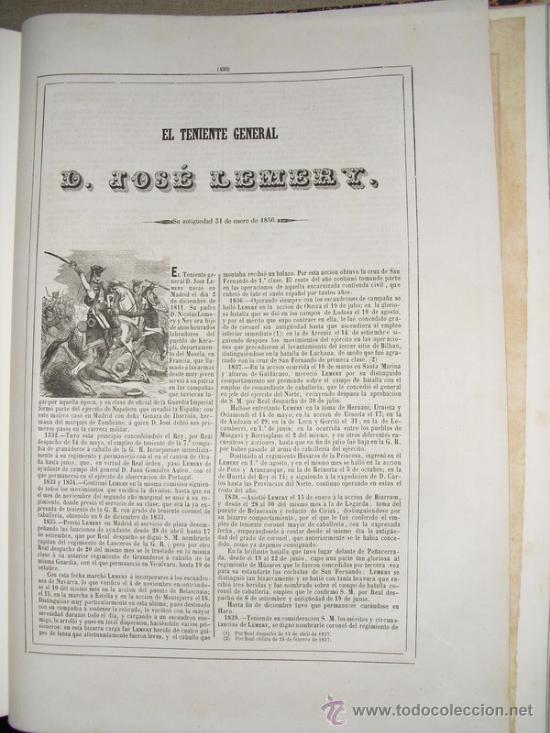 Militaria: 1852 BIOGRAFIA DEL TENIENTE GENERAL DON JOSE LEMERY IBARROLA 42X31 CMS - Foto 2 - 26929740