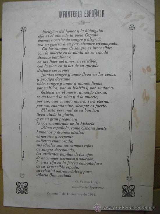 1912 POEMA A LA INFANTERIA ESPAÑOLA G. SANTOS DIEGO (Militar - Libros y Literatura Militar)