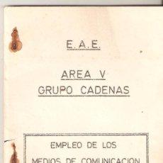 Militaria: LIBRO EMPLEO DE LOS MEDIOS DE COMUNICACION EN LOS CARROS DE COMBATE.AREA V.GRUPO CADENAS.. Lote 27473055