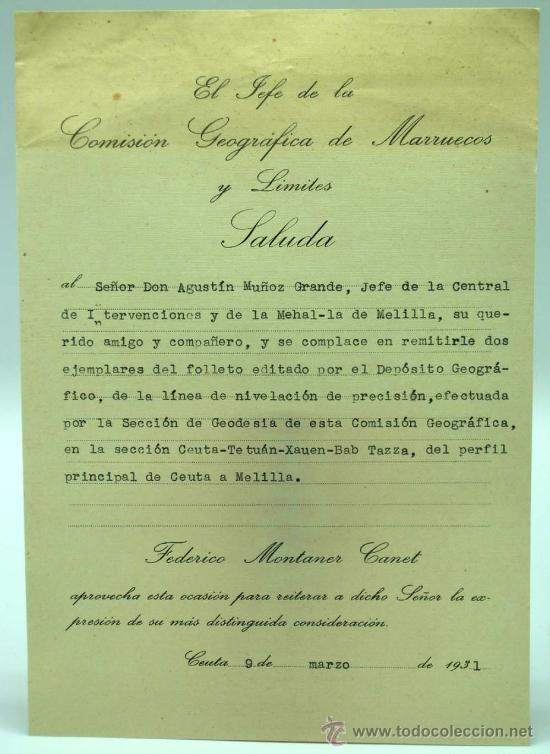 Militaria: Perfil principal de Ceuta y Melilla Madrid 1930 de Federico Montaner Canet a Agustin Muñoz Grandes - Foto 4 - 22372017