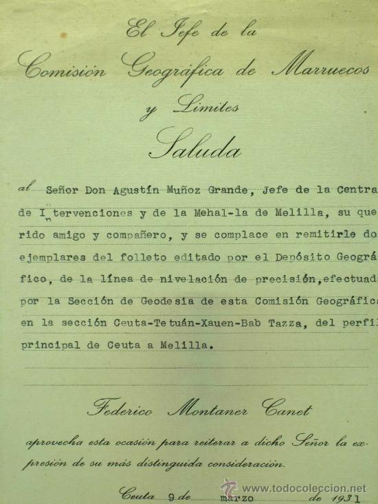 Militaria: Perfil principal de Ceuta y Melilla Madrid 1930 de Federico Montaner Canet a Agustin Muñoz Grandes - Foto 5 - 22372017