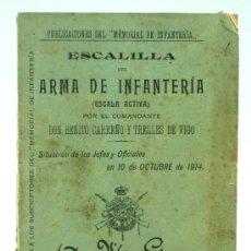 Militaria: ESCALILLA ARMA INFANTERÍA ESCALA ACTIVA BENITO CARREÑO Y TRELLES 10 OCT 1914 IMP COLEGIO Mª CRISTINA. Lote 22636641