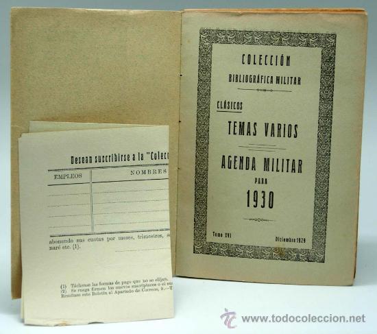 Militaria: Agenda militar para 1930 Clásicos Colección Bibliográfica Militar Tomo XVI Imp Tea Toledo Dic 1929 - Foto 2 - 22808722