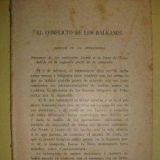 Militaria: 1913 EL CONFLICTO DE LOS BALKANES NOTICIAS DE LAS OPERACIONES. Lote 23120421