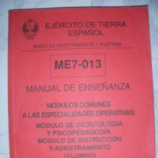 Militaria: EJERCITO DE TIERRA ESPAÑOL - MANUAL DE ENSEÑANZA DEL MANDO DE ADIESTRAMIENTO Y DOCTRINA. Lote 115778627