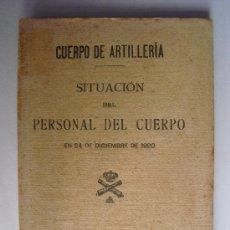 Militaria: 1920 SITUACION DEL PERSONAL DEL CUERPO DE ARTILLERIA. Lote 27587727
