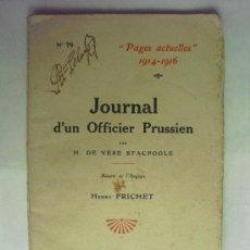 Militaria: 1916 DIARIO DE UN OFICIAL PRUSIANO H. DE VERE STACPOOLE. Lote 28199197