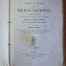 Militaria: MANUAL DE TÁCTICA DE LA MILICIA NACIONAL. TOMO I. CORSINI, LUIS. 1854.. Lote 29750268