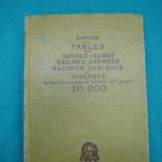 Militaria: TABLES- CARRÉS CUBY ET INVERSES POR BARLOW 1949 PARIS. Lote 30244356
