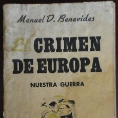 Militaria: EL CRIMEN DE EUROPA, 253 PÁGINAS, SEXTA EDICIÓN, BARCELONA 1937. Lote 31205633