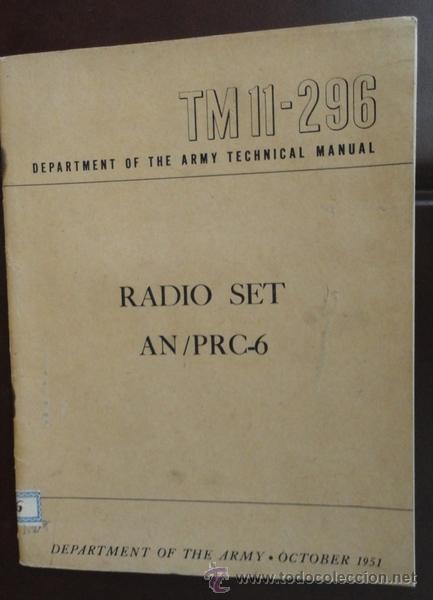 RADIO SET AN/PRC-6, 1951, EN INGLÉS, 30 PÁGINAS (Militar - Libros y Literatura Militar)