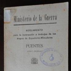 Militaria: PUENTES, ZAPADORES-MINADORES, 1933, 105 PÁGINAS, CON FIGURAS REPÚBLICA. Lote 31235065