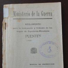 Militaria: REGLAMENTO ZAPADORES MINADORES, PUENTES, AÑO 1933, REPÚBLICA. 100 PÁGINAS APROX.. Lote 31236460