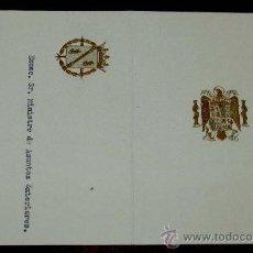 Militaria: ANTIGUO MENU DE ALMUERZO DE GALA DE S.E. EL GENERALISIMO FRANCISCO FRANCO EN EL XV ANIVERSARIO DE LA. Lote 31284970