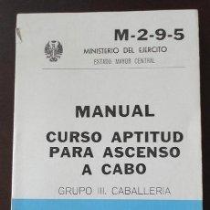 Militaria: CURSO DE APTITUD DE ASCENSO A CABO, CABALLERÍA.. Lote 31314905