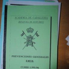 Militaria: ACADEMIA DE CABALLERIA PREVENCIONES GENERALES DEL CURSO 1995-1996. Lote 34572753