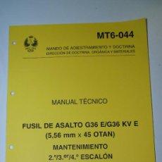 Militaria: MANUAL TECNICO. FUSIL DE ASALTO G36 E/G36 KV E. PARA USO INTERNO DE LAS FUERZAS ARMADAS. Lote 62061964