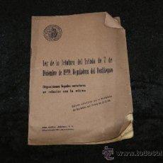 Militaria: LIBRO LEY DE JEFATURA DEL ESTADO, 1939, GUERRA CIVIL. Lote 35668770