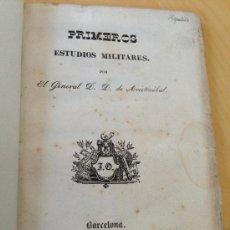 Militaria: 1843.- GUERRA CARLISTA. PRIMEROS ESTUDIOS MILITARES POR EL GENERAL D. D. DE ARISTIZABAL. MUY RARO. Lote 38040516