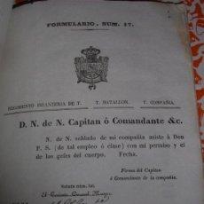 Militaria: LIBRO ANTIGUO 1845 INTENDENCIA MILITAR CON 43 FORMULARIOS. Lote 39121308