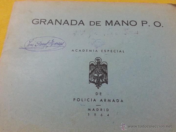 MANUAL Y DESPIECE GRANADA DE MANO P.O. ACADEMIA POLICIA ARMADA, MADRID 1964 (Militar - Libros y Literatura Militar)