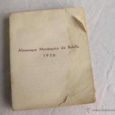 Militaria: ALMANAQUE MONARQUICO DE BOLSILLO DE 1936 - EDICIONES E. C. A.. Lote 40967200