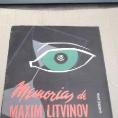 Militaria: MEMORIAS DE MAXIM LITVINOV 1926 1950 EDICION 1955. Lote 41337908