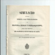 Militaria: GALICIA. SIMULACRO ... TROPAS ... ELVIÑA, EIRIS Y PEÑASQUEDO ... 1859.. Lote 41446535