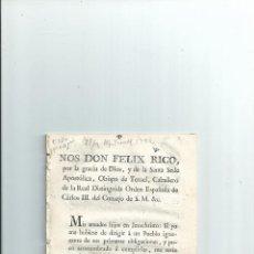 Militaria: 1798 - EXHORTO DE FELIX RICO, OBISPO DE TERUEL ... ACCIONES JOYAS ALHAJAS .... Lote 41987522