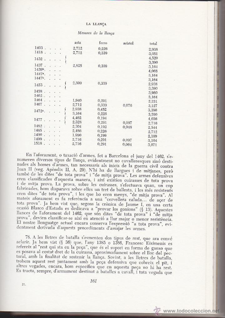 Militaria: L ARNES DEL CAVALLER - ARMES I ARMADURES CATALANES MEDIEVALS - MARTI DE RIQUER 1968 - Foto 4 - 42620282