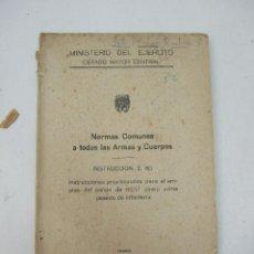 Militaria: NORMAS COMUNES A TODAS LAS ARMAS Y CUERPOS - INSTRUCCIONES CAÑON DE 65/17 - 1945. Lote 43358107
