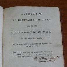 Militaria: ELEMENTOS DE EQUITACION MILITAR PARA EL USO DE LA CABALLERIA ESPAÑOLA. LAIGLESIA Y DARRAC, F. 1819.. Lote 44137047
