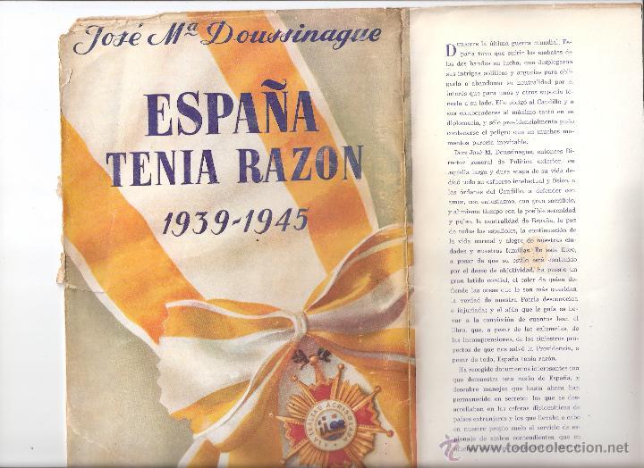 Militaria: España tenía razón. 1939 - 1945. Jose María Doussinague. Espasa Calpe, S.A. 1ª edición. 1949 - Foto 7 - 44249556
