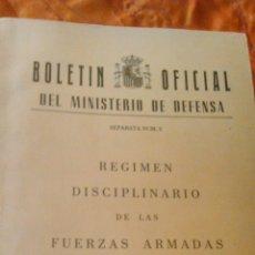 Militaria: RÉGIMEN DISCIPLINARIO DE LAS FUERZAS ARMADAS. BOLETÍN OFICIAL DEL MINISTERIO DE DEFENSA.1986. Lote 46060151