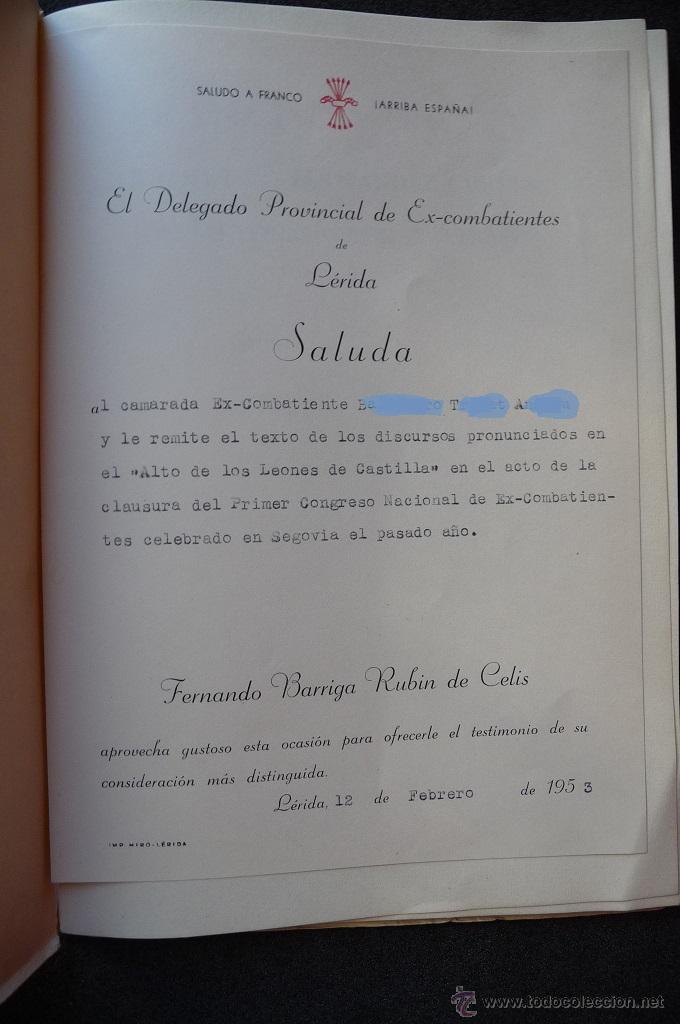 Militaria: (JX-1864)ALTO DE LOS LEONES DE CASTILLA,CONCENTRACION REGIONAL DE EX-COMBATIENTES DE DOS CASTILLAS - Foto 2 - 173923449