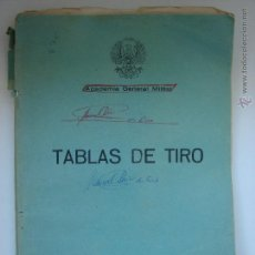 Militaria: TABLAS DE TIRO. ACADEMIA GENERAL MILITAR DE ZARAGOZA.. Lote 47044550