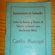 Militaria: RARA CARTILLA REVISION VEHICULOS SUJETA A REQUISA MOVILIZACION MILITAR 1965 MOTO LAMBRETTA SANTANDER. Lote 53711192