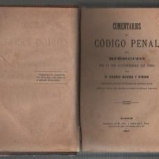 Militaria: BUEN LIBRO COMENTARIOS AL CODIGO PENAL DEL EJERCITO - 1884 -PEDRO BUESA Y PISON. Lote 241665950