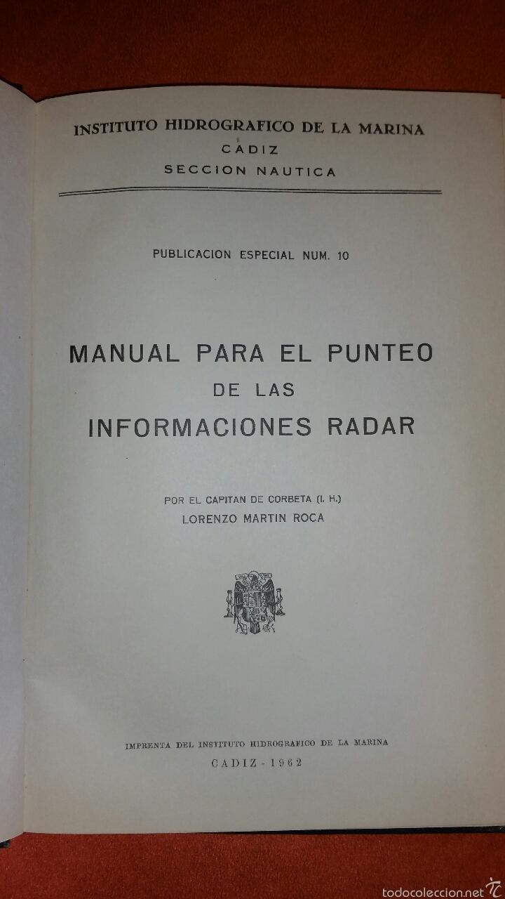 MANUAL PARA EL PUNTEO DE LAS INFORMACIONES RADAR 1962 CADIZ (Militar - Libros y Literatura Militar)