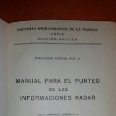 Militaria: MANUAL PARA EL PUNTEO DE LAS INFORMACIONES RADAR 1962 CADIZ. Lote 54330019