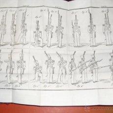 Militaria: 1844 REGLAMENTO PARA EL EJERCICIO Y MANIOBRAS DE LA INFANTERIA 2 V 77 LAMINAS DESPLEGABLES. Lote 54704394