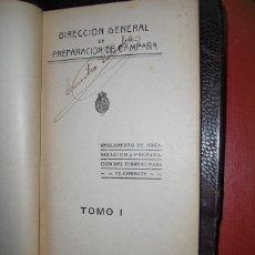Militaria: 1926 REGLAMENTO DE ORGANIZACION Y PREPARACION DEL TERRENO PARA EL COMBATE TOMO I. Lote 54704599