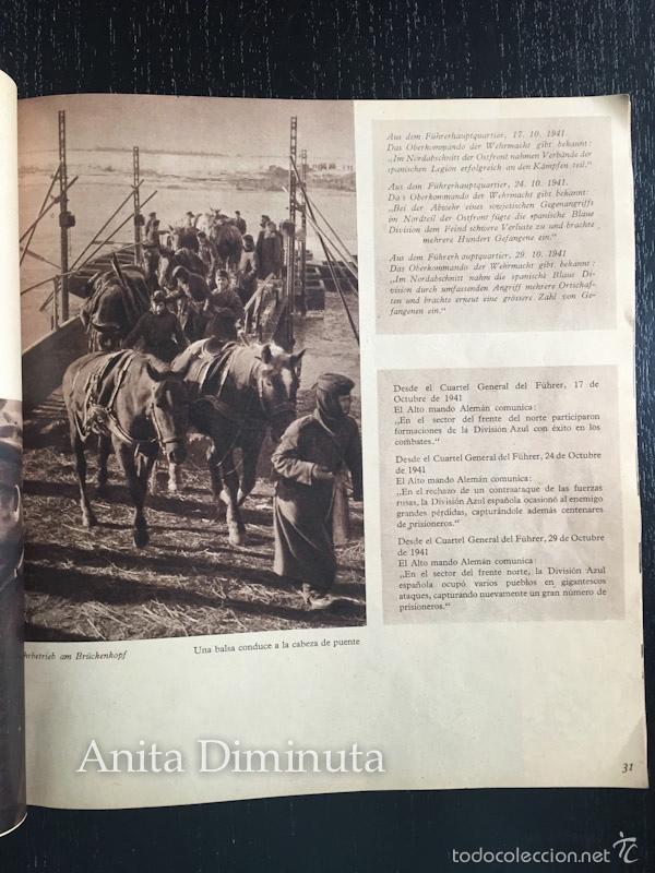 Militaria: MAGNIFICO LIBRO LOS VOLUNTARIOS ESPAÑOLES EN EL FRENTE ILUSTRADO DE LA DIVISION AZUL 1942 - 250 DE F - Foto 5 - 56029411