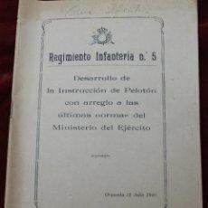 Militaria: REGIMIENTO INFANTERIA Nº 5, DESARROLLO DE LA INSTRUCCIÓN DE PELOTON, GRANADA 12 JULIO 1940. Lote 56607079