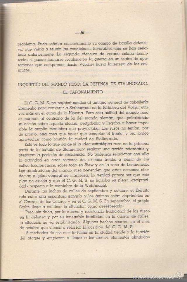 Militaria: LA BATALLA DE STALINGRADO (JULIO 1942-FEBRERO 1943). UNA MANIOBRA DE CERCO. AÑO 1947 - Foto 3 - 56877100