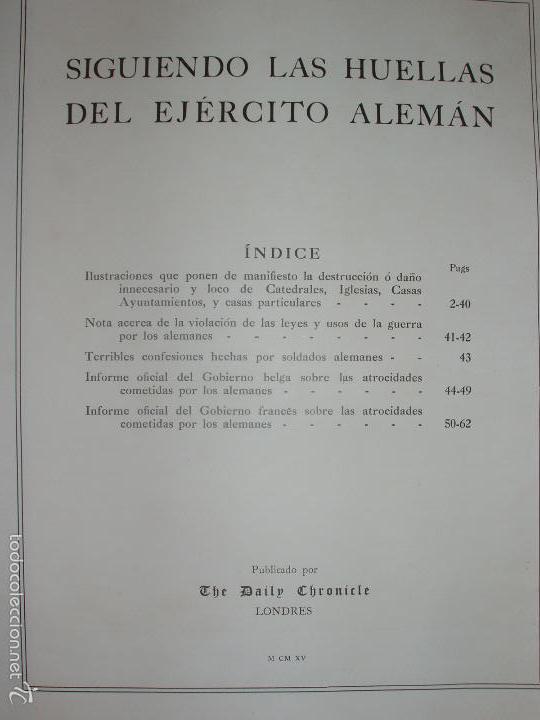 Militaria: SIGUIENDO LAS HUELLAS DEL EJÉRCITO ALEMAN. LONDON, 1915. ILUSTRADO CON 58 FOTOGRAFIAS ESPECIALES. - Foto 2 - 56944185