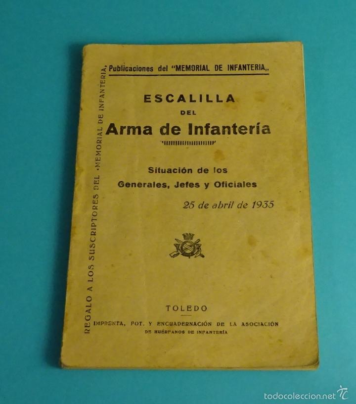 ESCALILLA DEL ARMA DE INFANTERÍA. 25 DE ABRIL DE 1935 (Militar - Libros y Literatura Militar)