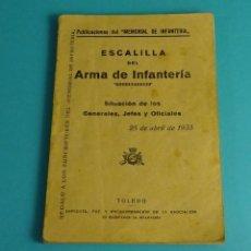 Militaria: ESCALILLA DEL ARMA DE INFANTERÍA. 25 DE ABRIL DE 1935. Lote 57097250