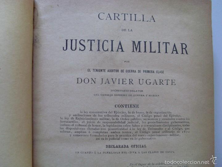 Militaria: CARTILLA DE LA JUSTICIA MILITAR--Javier Ugarte--1887 - Foto 2 - 57208763
